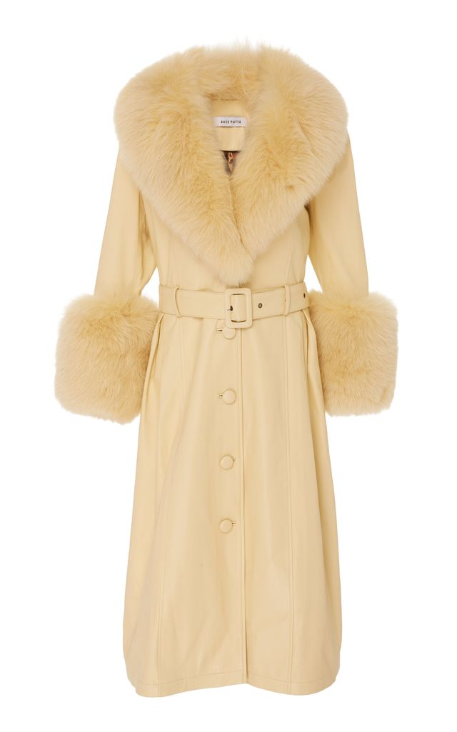 Saks Potts Foxy Fur Trimmed Leather Coat