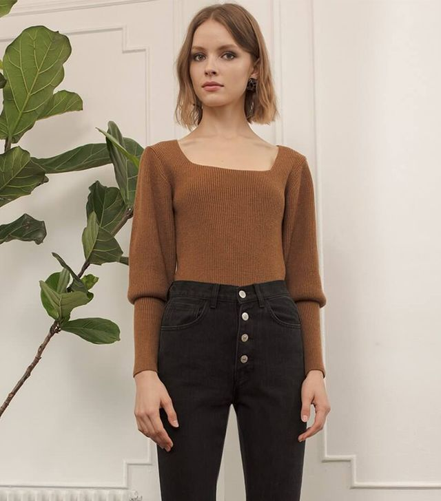 Pixie Market Brown Square Neckline Sweater