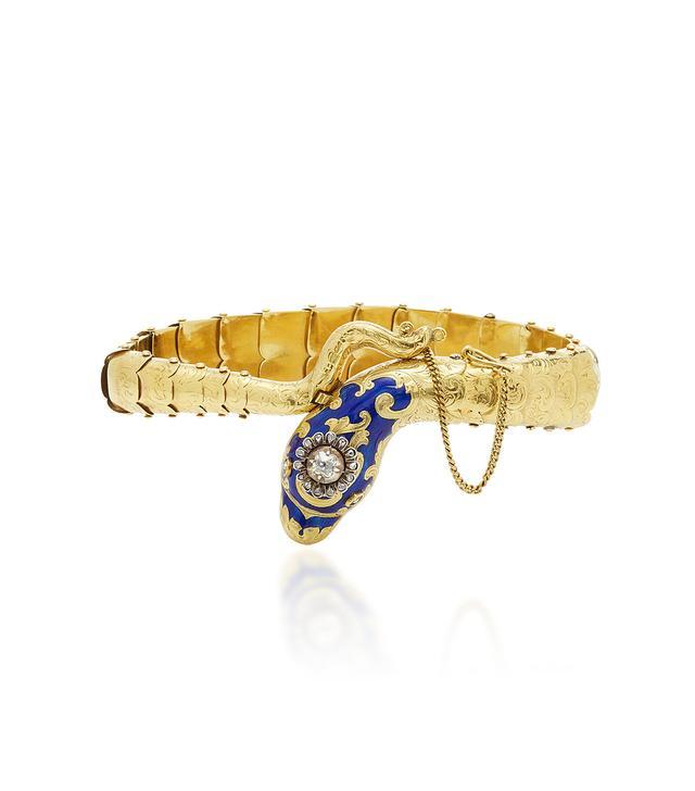 18K Gold and Enamel Snake Bracelet