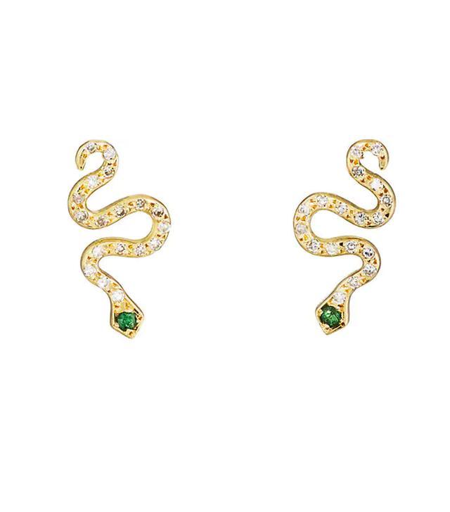 Little Snake Stud Earrings in Gold