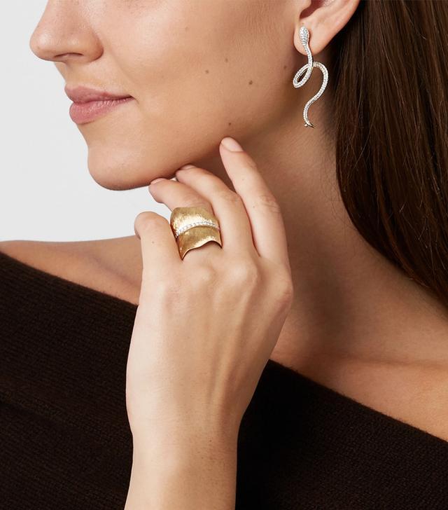 Snake 18-Karat Gold Diamond Earring