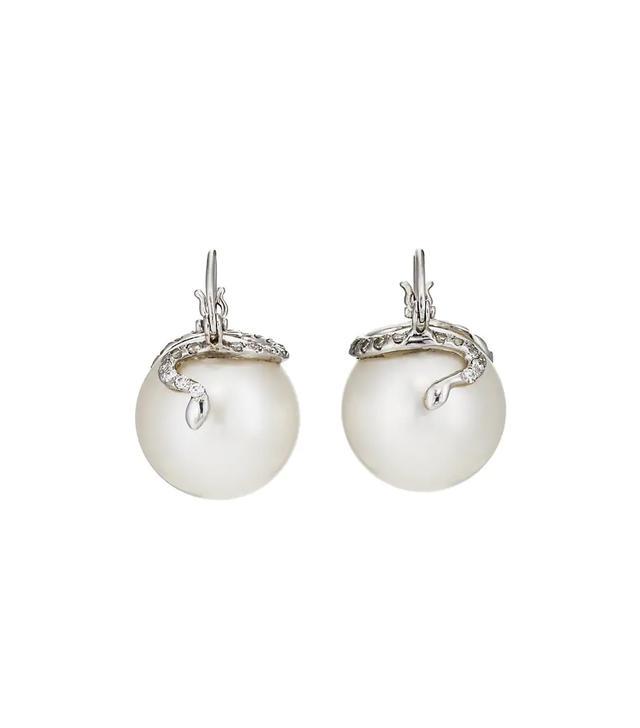 Snake-Cap Australian Pearl Earrings