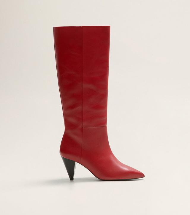 Mango Leather High-Leg Boots