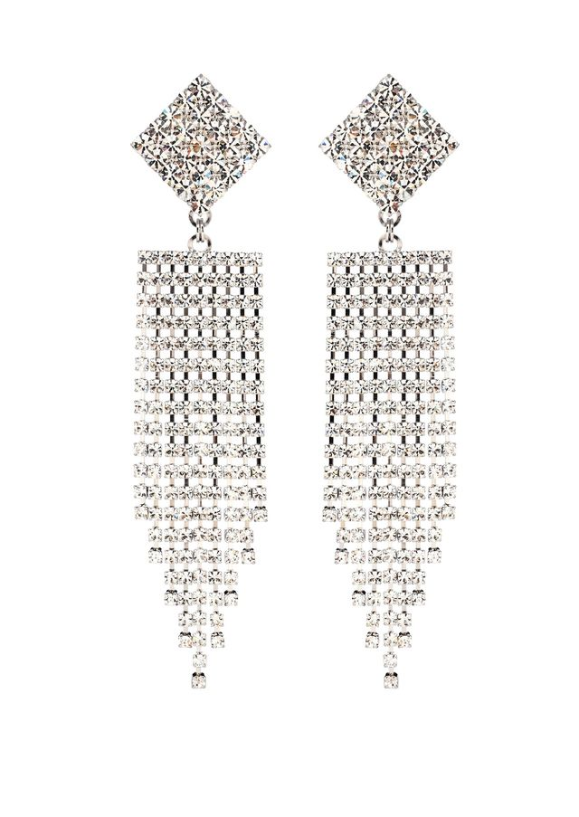 Crystal waterfall clip-on earrings