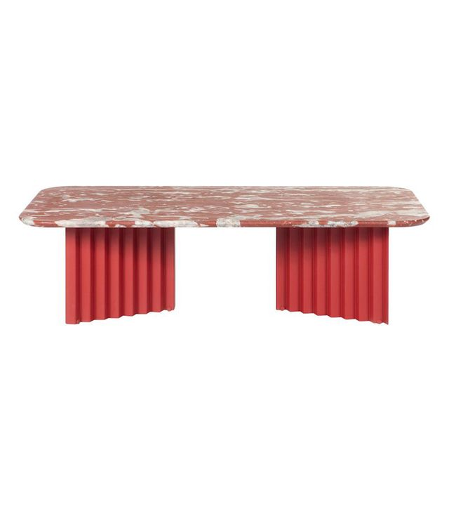 A.P.O. RS-Barcelona Large Plec Table in Red and White Colored Marble
