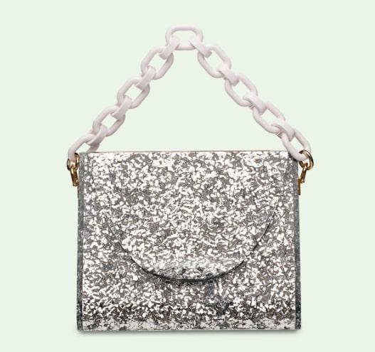 Edie Parker Triangle Bag in Silver Confetti
