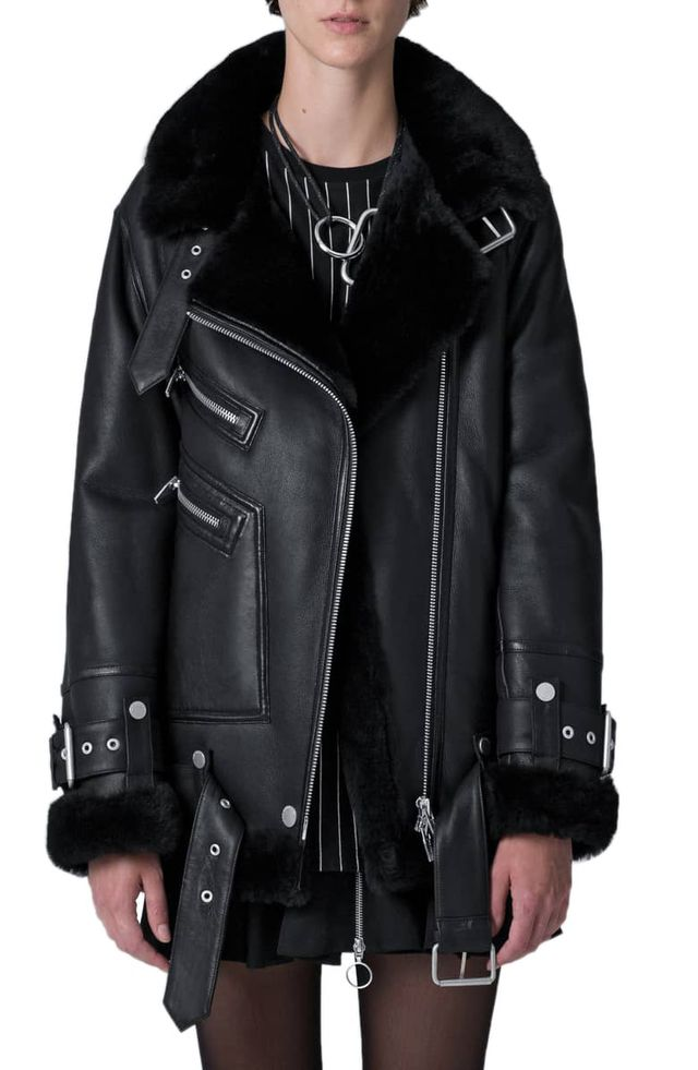 The Arrivals Moya III Oversize Leather & Genuine Shearling Jacket