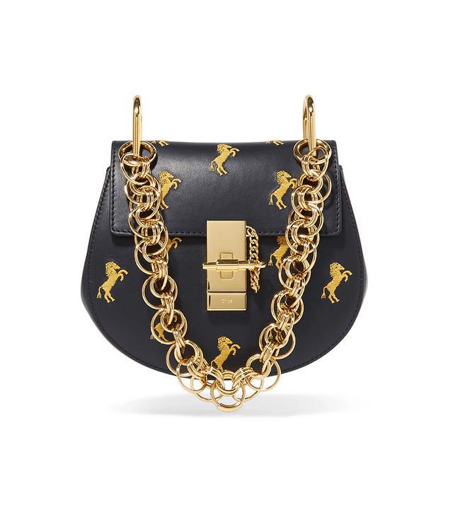 Chloé Drew Bijou Mini Embroidered Leather Shoulder Bag