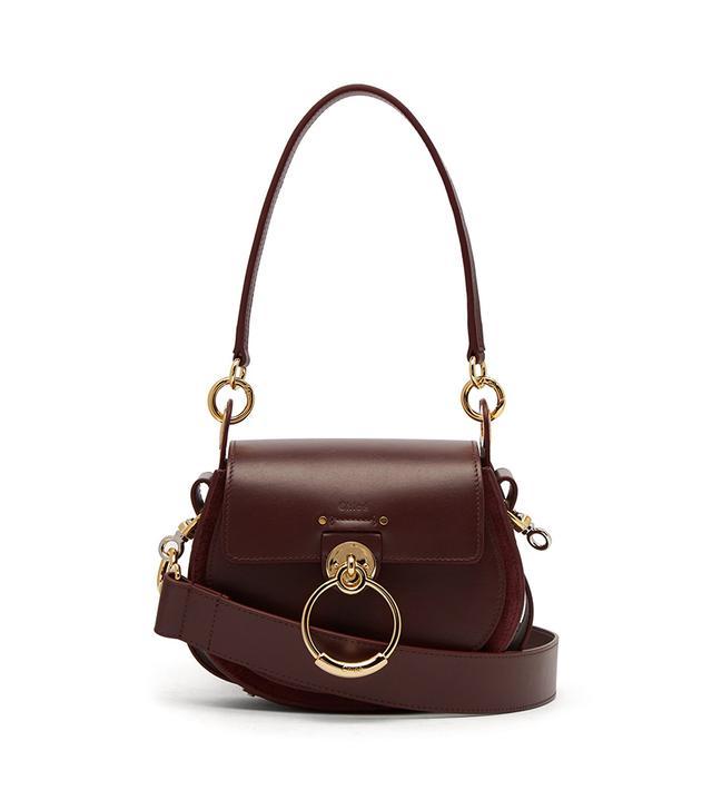 Chloe Tess Small Leather Cross Body Bag - Womens - Burgundy