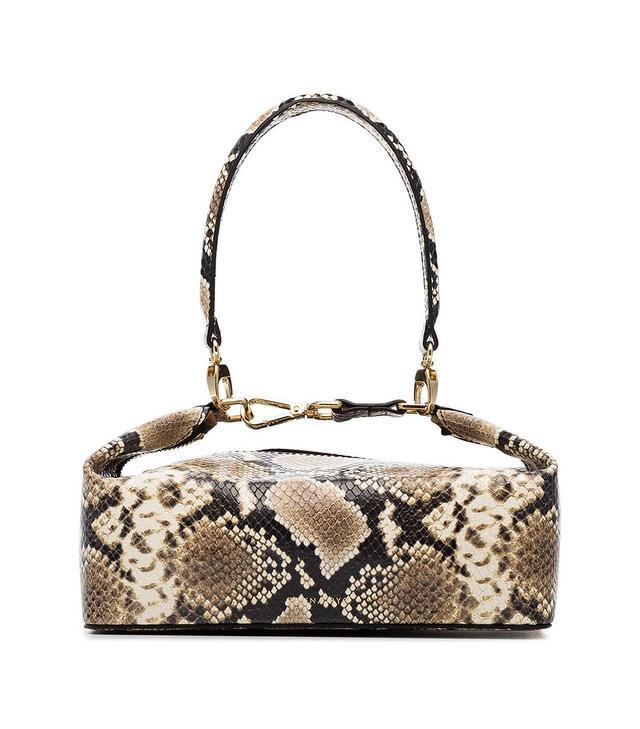 Rejina Pyo neutral Olivia snakeskin embossed leather box bag -