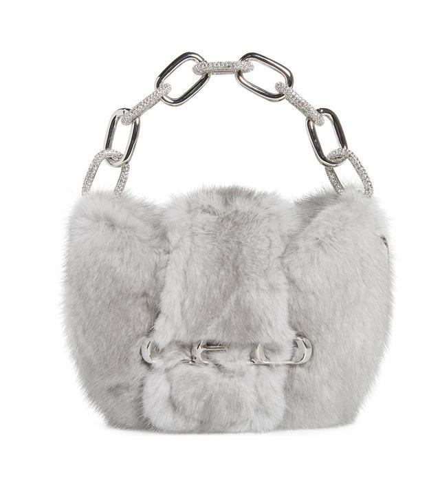 Alexander Wang Micro Mini Genuine Mink Fur Clutch in Grey