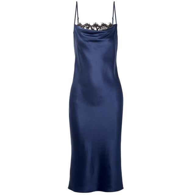 Fleur du Mal Draped Lace Silk-Satin Slip Dress