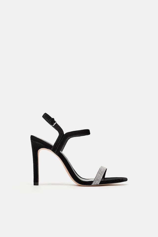 Zara Rhinestone Encrusted Velvet Sandals