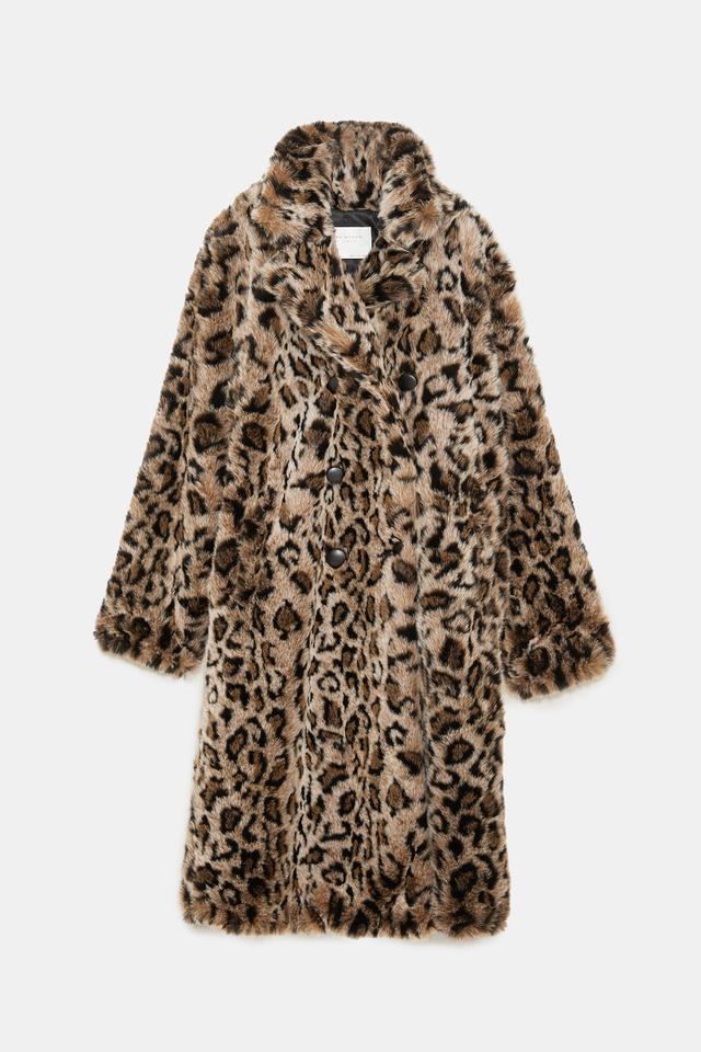 Zara Animal Print Textured Coat