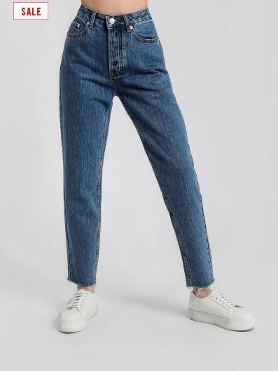 Assembly Label High Waist Rigid Fray Jeans in Mid Blue Denim
