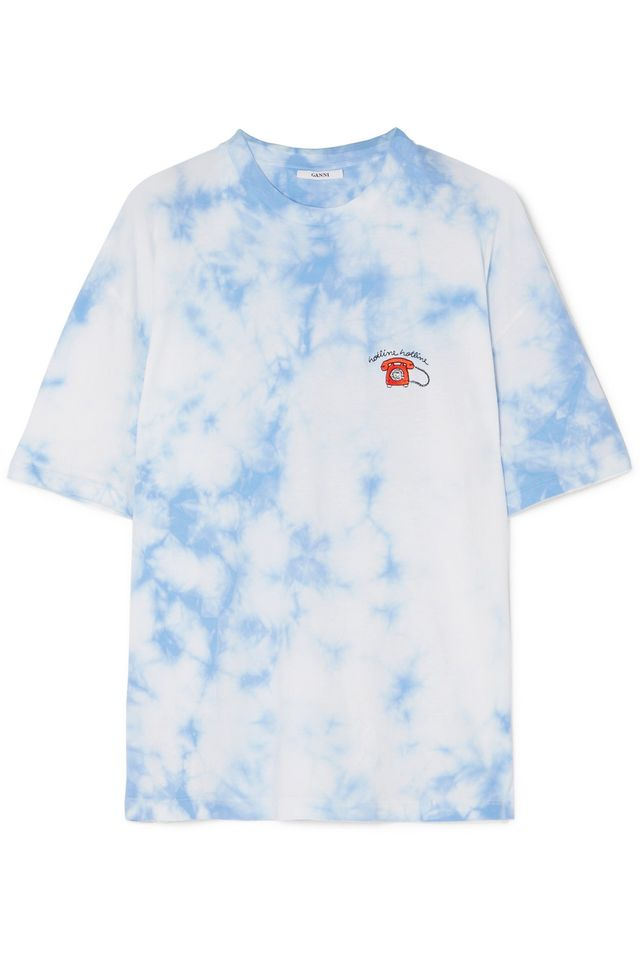 Ganni Ginsbourg Verbena Embroidered Tie-Dyed Cotton-Jersey T-shirt