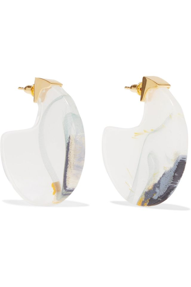 Ejing Zhang Chac Disc Gold-Plated Resin Earrings