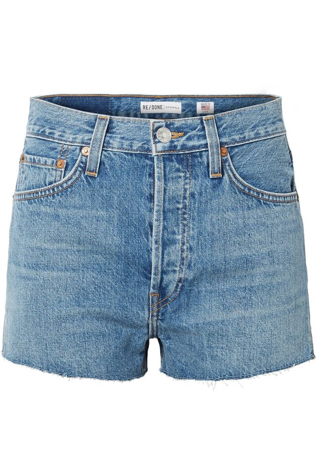 RE/DONE The Short Frayed Denim Shorts