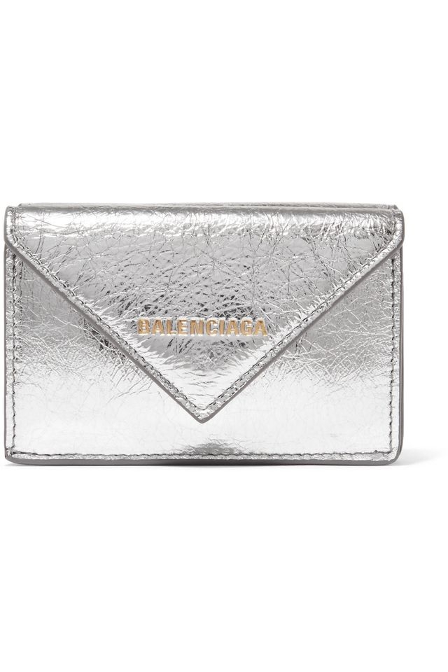 Balenciaga Paper Mini Printed Metallic Textured-Leather Wallet