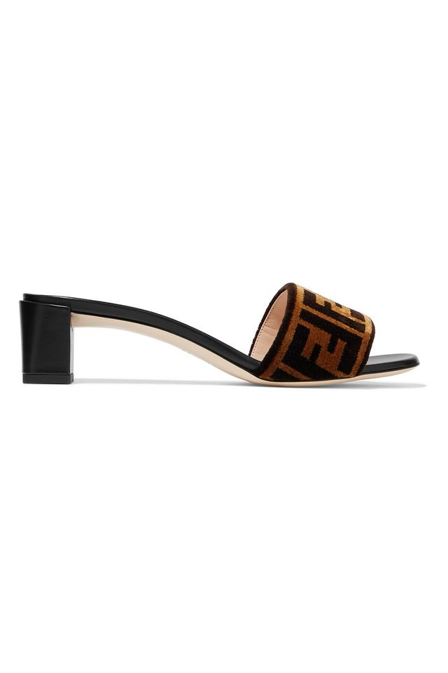 Fendi Logo Velvet and Leather Mules