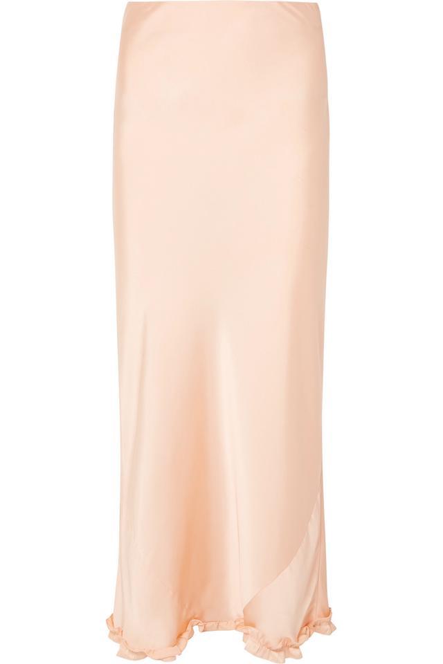 Paco Rabanne Ruffle-Trimmed Silk Skirt
