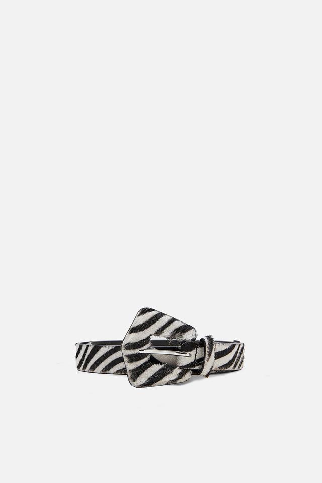 Zara Zebra Print Leather Belt