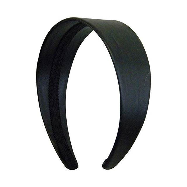 Motique Accessories Black 2 Inch Wide Leather Like Headband