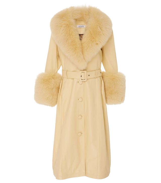 Saks Potts Foxy Fur Trimmed Leather Coat