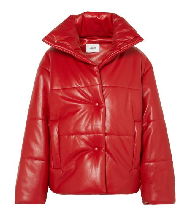 Nanushka Hide Oversized Quilted Vegan Faux Leather Jacket