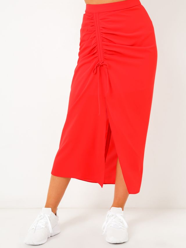 Glue Store Lennox Midi Skirt in Red