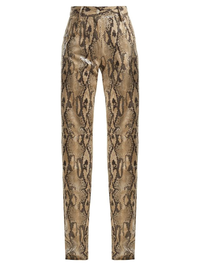 Msgm - High Waisted Snake Print Trousers - Womens - Beige