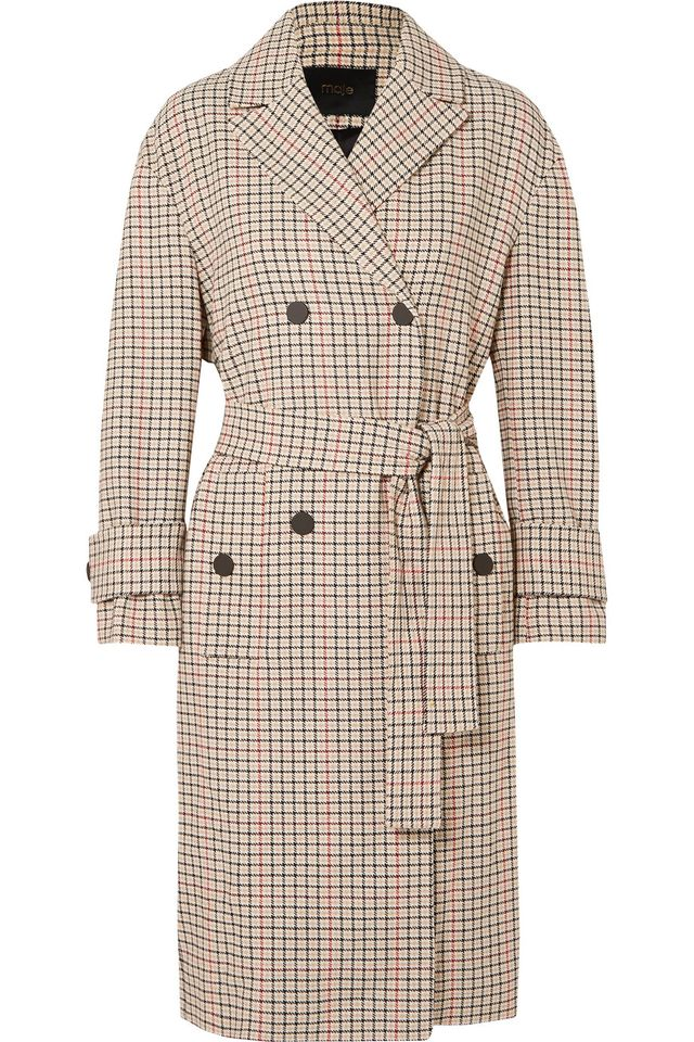Prince Of Wales Checked Twill Trench Coat