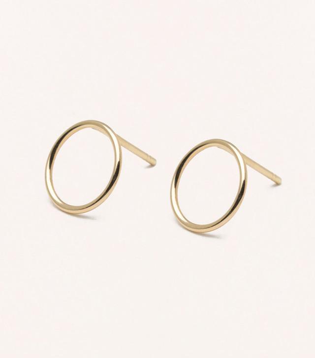 Vrai & Oro Circle Stud Earrings
