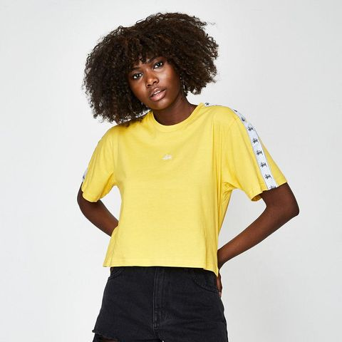 Short Sleeve Grafitti Tape Crop T-Shirt Yellow