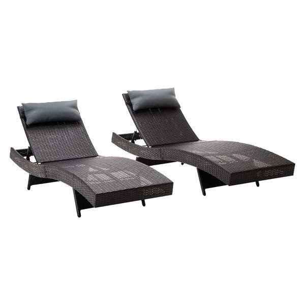Gardeon Elisha Outdoor Sunlounger, Black (Set of 2)