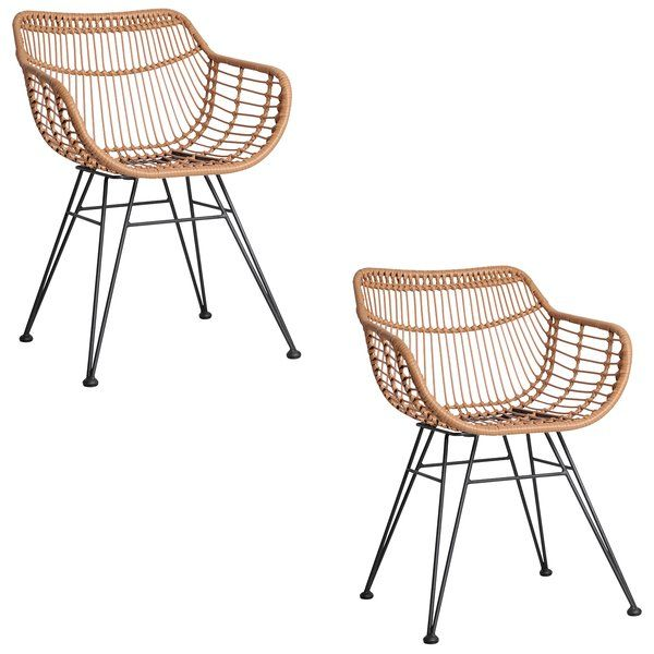 Gardeon Gauri Indoor/Outdoor Dining Chair, Natural (Set of 2)