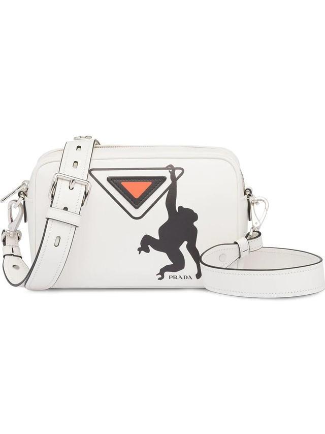 Prada White Monkey Logo Print Leather Shoulder Bag