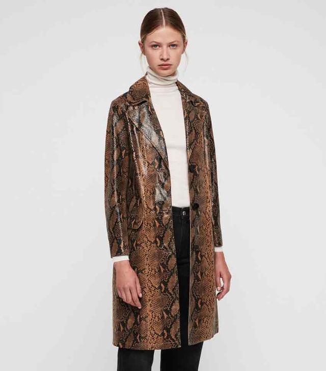 AllSaints Oba Leather Mac