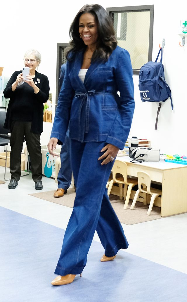 Michelle Obama Denim Pantsuit Karen Walker