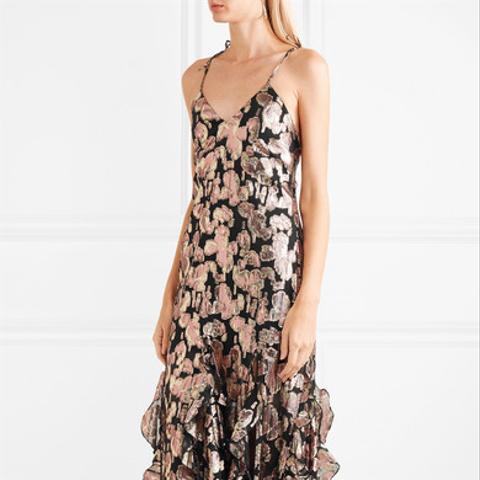 Best Of You Metallic Silk-Blend Jacquard Midi Dress
