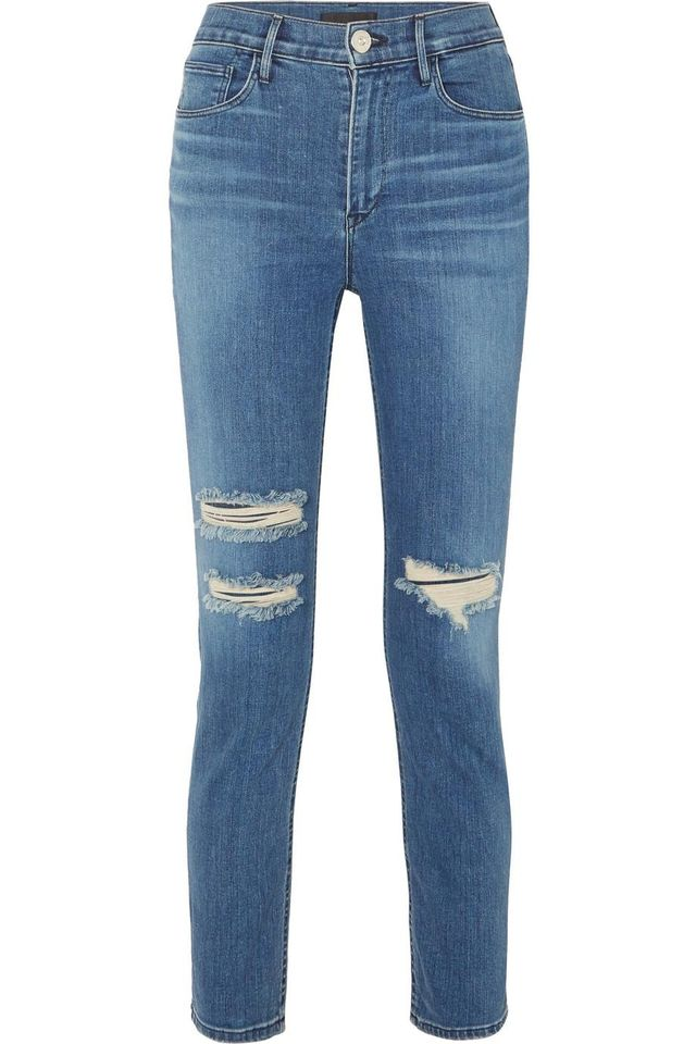 3x1 W4 Colette Cropped Distressed High-Rise Slim-Leg Jeans