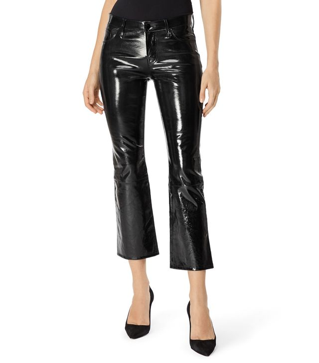 J Brand Selena Mid-Rise Cropped Boot Cut in Stretch Patent Black Leather