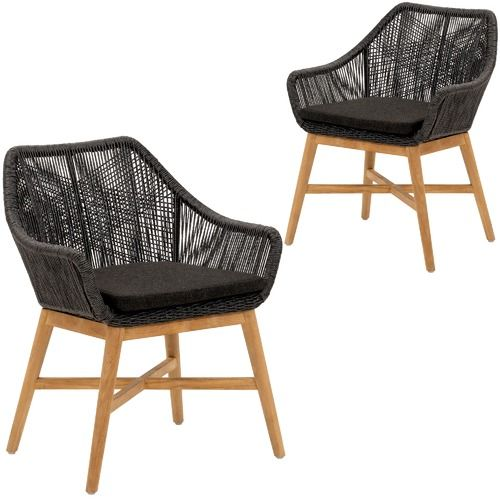 Cast Iron Outdoor Black Stream PE Wicker Outdoor Dining Chairs (Set of 2)