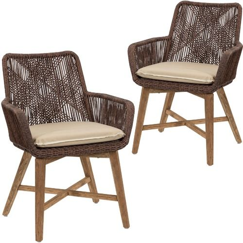 Cast Iron Outdoor Brown Armena PE Wicker Outdoor Dining Chairs (Set of 2)