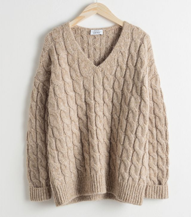 & Other Stories Alpaca Blend Cable Knit Sweater