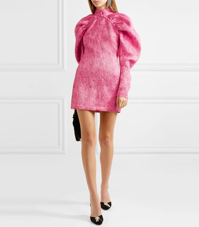 Rotate Ruched Jacquard Mini Dress