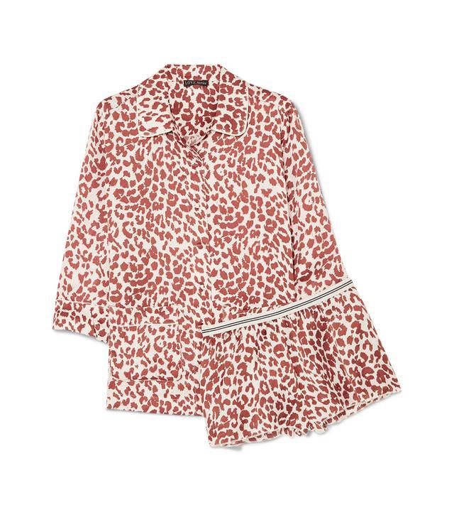 Love Stories Joe And Edie S Leopard-Print Satin Pajama Set