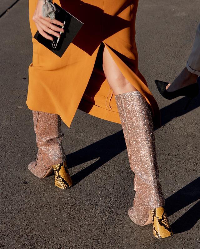 Fall Shoe Trends Glitter Snake Boots