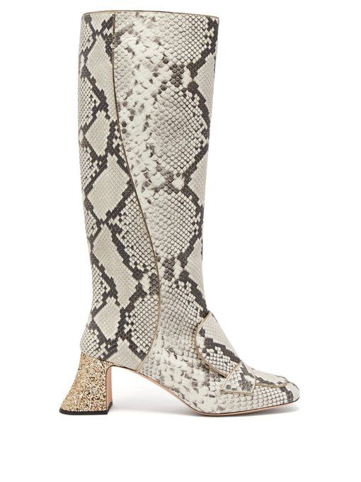 Rochas Pascal Glitter-Heel Leather Boots