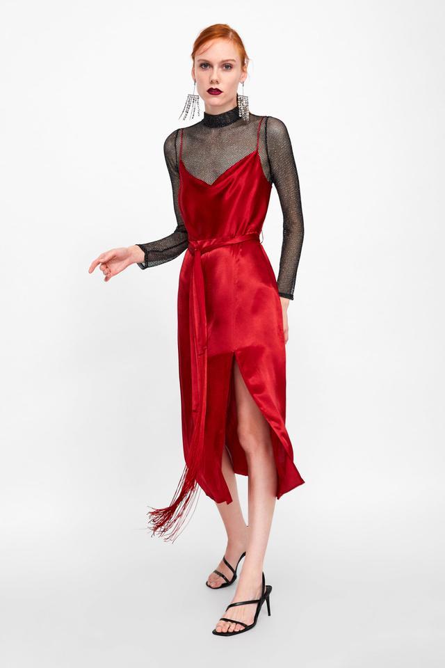Zara Lingerie-Style Fringe Dress With Belt